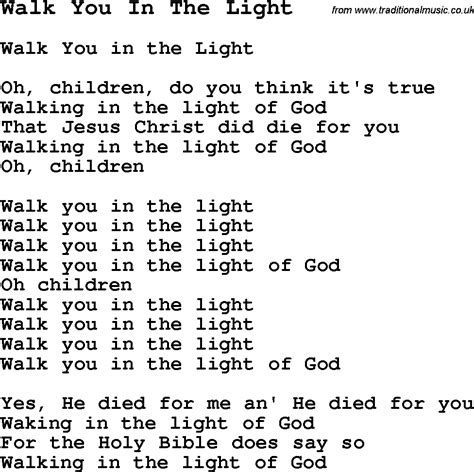 negro spiritual song lyrics for walk you in the light