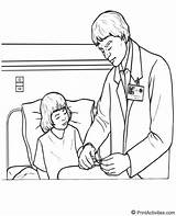 Doctor Coloring Patient Bedside Ease Putting sketch template