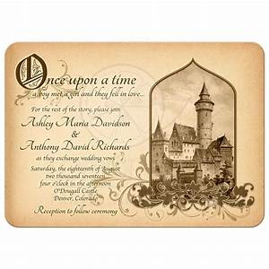 fairy tale castle wedding invitation medieval once upon a time With gothic castle wedding invitations