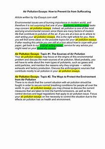 Written Essay On Air Pollution U2019 Cause And Effect Essay