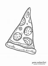 Pizza Slice Pepperoni Coloring Printable Toppings Print Fun sketch template