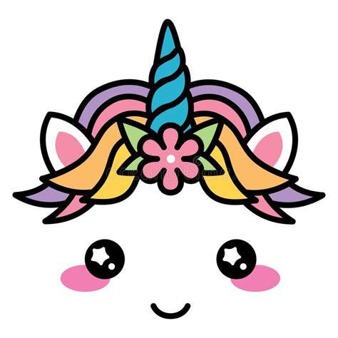 colore pastello dell unicorno di kawaii dell arcobaleno sveglio fronte con il fiore