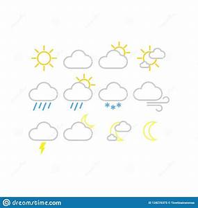 Weather Forecast Vector Icons. Sunny, Snowy, Rainy Weather ...