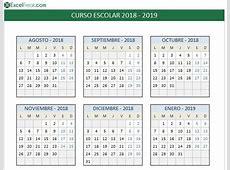 Calendario Escolar 2018 2019 en excel para imprimir