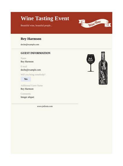 Wine Tasting Invitation TemplateTemplates JotForm