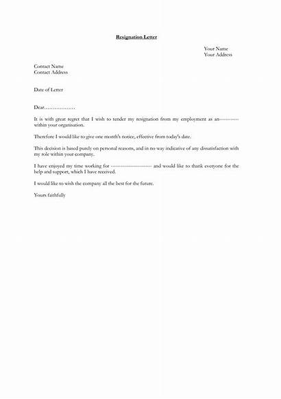 Resignation Letter Standard Template Templates Allbusinesstemplates Main