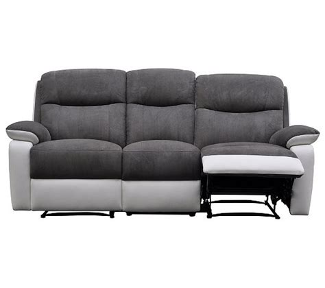 canap 233 3 places 2 relax warm ii polyur 233 thane blanc micro gris canap 233 s but