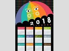 2018 calendar design stylized colorful umbrella icon Free