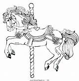 Coloring Horse Carousel Pages Draft Clip Horses Merry Round Clipart Bows Decorated Printable Colouring Drawing Horseclipart Flowers Christmas Under Float sketch template