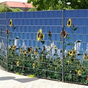 Doppelstabmattenzaun Sichtschutz Motiv : sichtschutzstreifen bedruckt motiv sonnenblumen gelb ~ A.2002-acura-tl-radio.info Haus und Dekorationen