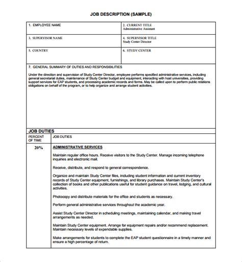 free description template sle description template 9 free documents