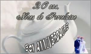 anniversaire de mariage 20 ans carte 20 ans porcelaine cybercartes
