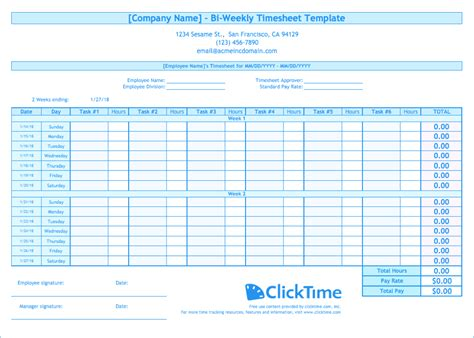 biweekly timesheet template  excel templates clicktime