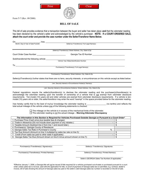 Georgia Boat Registration Transfer by Bill Of Sale Template Ga Georgia Motor Vehicle Form T