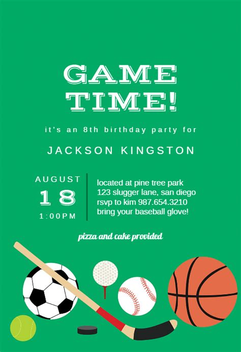 multi sports sports games invitation template