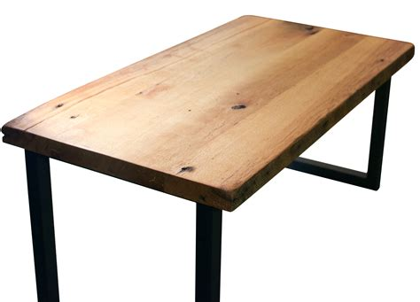wood table l wood coffee table metal legs and photos