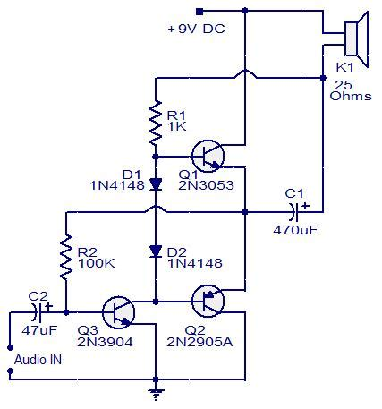 Three Transistor Audio Amplifier Electronic Circuits