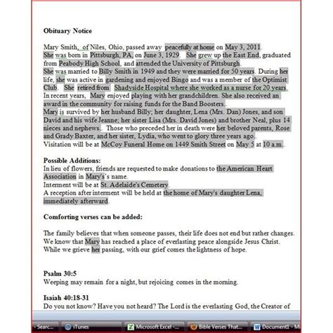 obituary template  microsoft word  world  reference
