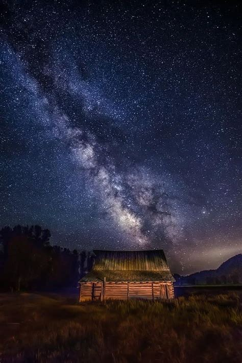 Milky Way Over The Moulton Barn Jacksons Hole Wyoming