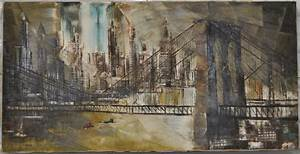robert lebron brooklyn bridge ny skyline painting chairish With kitchen cabinet trends 2018 combined with brooklyn bridge wall art