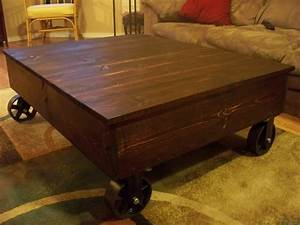 Ana white factory cart coffee table diy projects for White coffee table with wheels