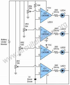 4 Led Battery Monitor Using Two Lm358 Ics