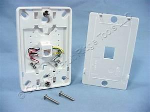 New Leviton White Wall Phone Mounting Plate Telephone Jack