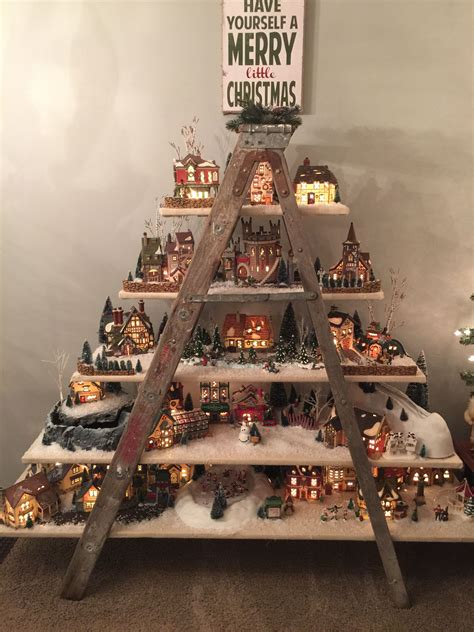 dept  christmas village ladder display christmas
