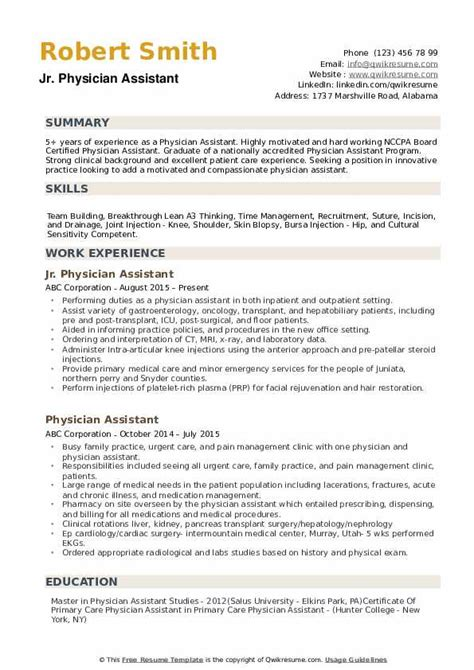 physician assistant resume sles qwikresume