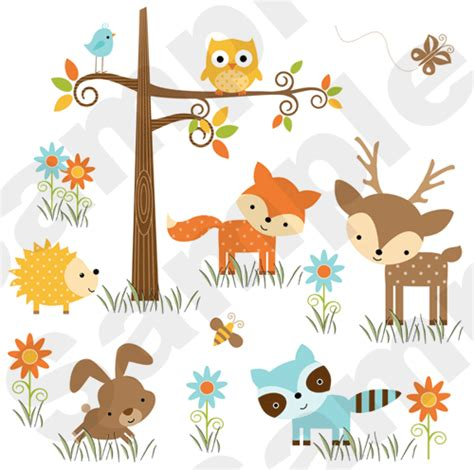 Woodland Forest Animals Deer Owl Bee Baby Nursery Wall