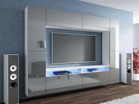 Wohnwände modern in großer auswahl günstig online kaufen. NEUHEIT Wohnwand Grau Hochglanz/ Weiß Mediawand LED ...