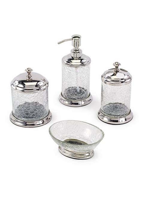 Glass Bath Accessories by Avanti Crackle Glass Bathroom Accessories Collection Belk