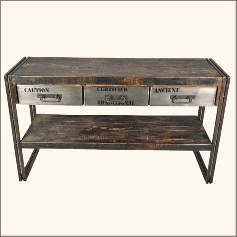 rustic wood entry table rustic industrial 3 drawer reclaimed wood iron hall entry