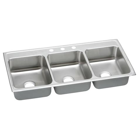 triple stainless steel sink elkay lustertone drop in stainless steel 46 in 3 hole