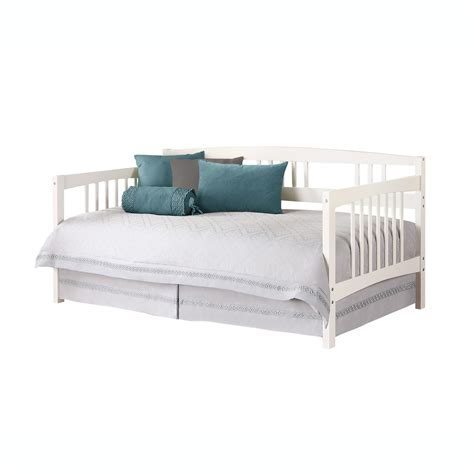daybeds for white wooden daybed with white blanket and blue pillows of