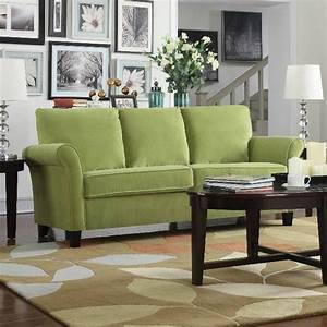 Comfy, Couch, Lime, Green, Velvet, Sofa, Couches, And, Sofas, Rolled, Flared, Arm, Furniture, Handyli