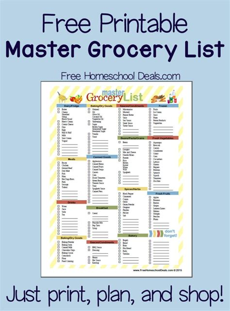 Free Printable Master Grocery List (instant download ...