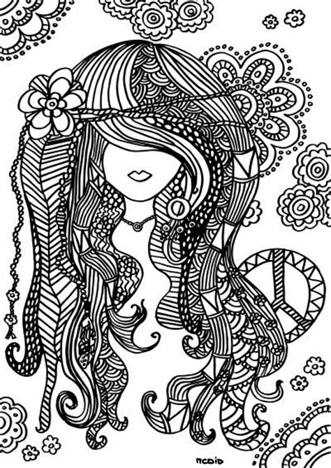 Free printable adult coloring page. Female girl doodles