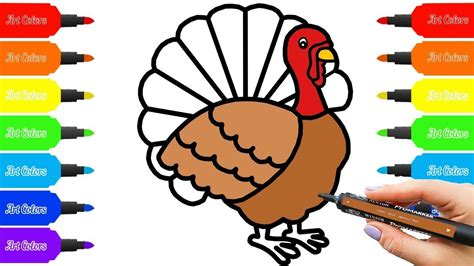 how to color a turkey how to draw a turkey learn colors for baby coloring book