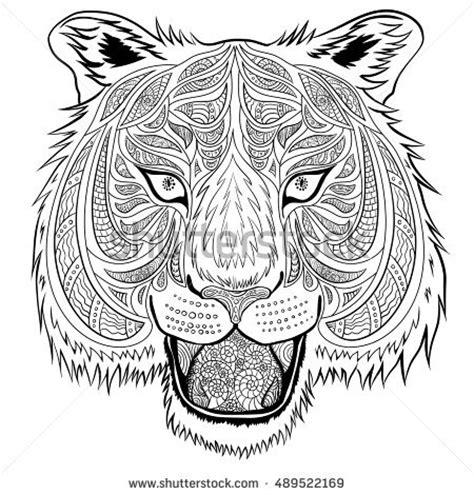 tiger head handdrawn doodle style can stock vector