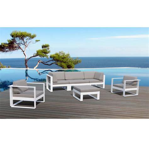 canapé 12 places salon de jardin st tropez en métal et tissu 5 places
