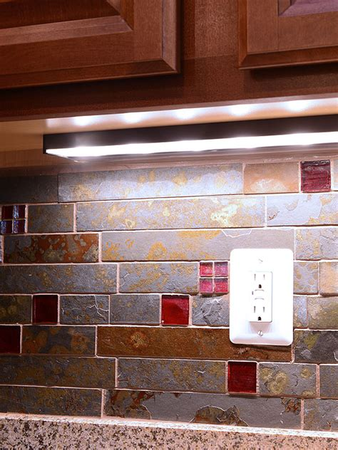 brown and gray color slate mosaic kitchen backsplash