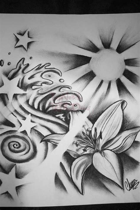 sun and star tattoos | Sun Waves Ands Stars By Itchysack Tattoo Designs 11957, Tattoo-Designs