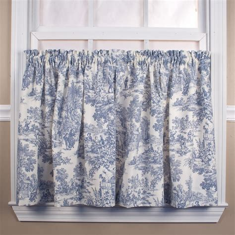 victoria park toile tier curtain pair