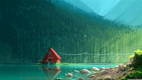 Explore over 6167 high quality clips to use on your next personal or commercial project. House by the Lake Drawing wallpaper | Landscape concept ...