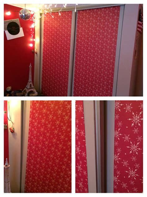 christmas wrapping paper closet door cover  bedroom