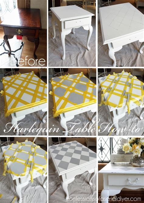 Kitchen Table Refinishing Ideas - harlequin painted side table confessions of a serial do it yourselfer
