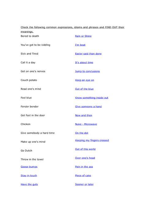 everyday english expressions worksheet