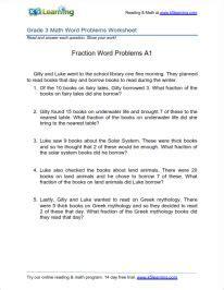 grade  fractions word problem worksheet  images