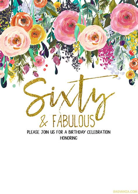 60th Birthday Invites Free Template by Free Printable 60th Birthday Invitation Templates Golden
